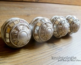 SET OF 4 - Antiqued Silver Art Deco Style Mirror Knob - Shiny Pewter Metal Mosaic Drawer Pull - Decorative Knob - Cabinet Decor