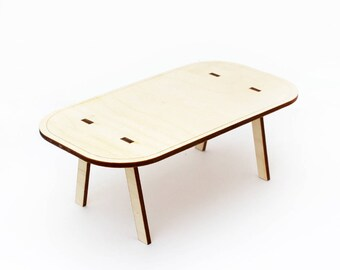 The Curve Dining Table - 1:12 Miniature Modern Dollhouse Furniture