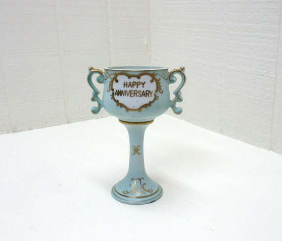Vintage Arnart Happy Anniversary Cup Hand Painted Porcelain