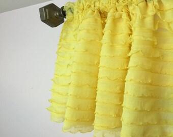 Yellow Ruffled Curtain Valance- Yellow Ruffle Window Treatment, Baby Girls Nursery- Yellow Valance- Yellow Ruffle Valance, Kitchen Valance
