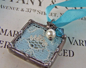 Something Blue Wedding Charm, Vintage Lace, Bridal Bouquet Charm, Made To Order