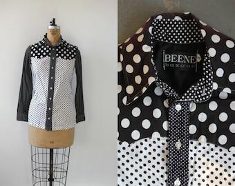 vintage 1970s geoffrey beene shirt / 70s polka dot button down shirt / 70s beene bazaar blouse / 70s designer western shirt / medium