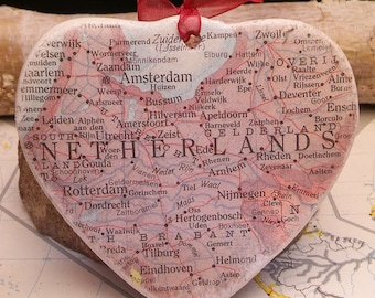Netherlands Map Christmas Ornament, Your Special Place in the Heart / HONEYMOON Gift / Wedding Map Gift / Travel Tree Ornament /