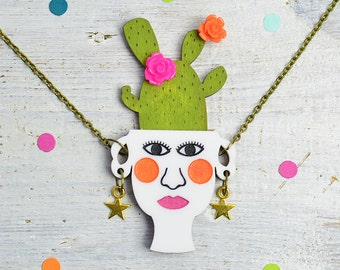 Cactus Necklace, Plant Lady Jewellery, Plant Pot, Prickly Pear, Nickel Free