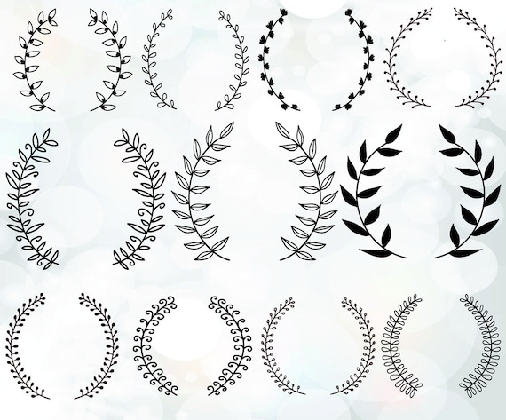Vintage laurel wreath clipart Laurel Wreaths SVG Wedding