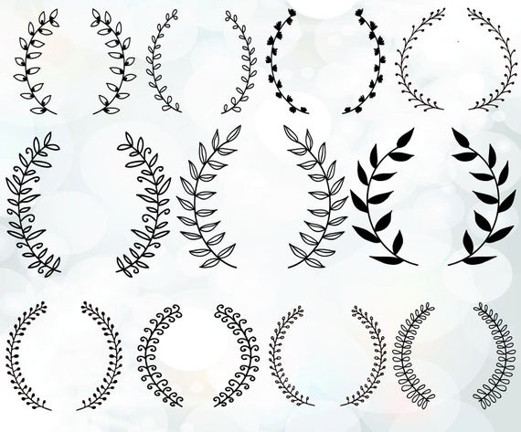 Vintage Laurel Wreath Clipart   Laurel Wreaths SVG   Wedding Wreath Clipart    Wedding Invitation Clipart   Svg, Dxf, Eps, Pdf Files