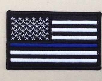 Thin Blue Line American Flag Patch Embroidered Velcr O Style hook backing USA United States of America