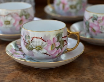 Five Hand Painted Teacup Set