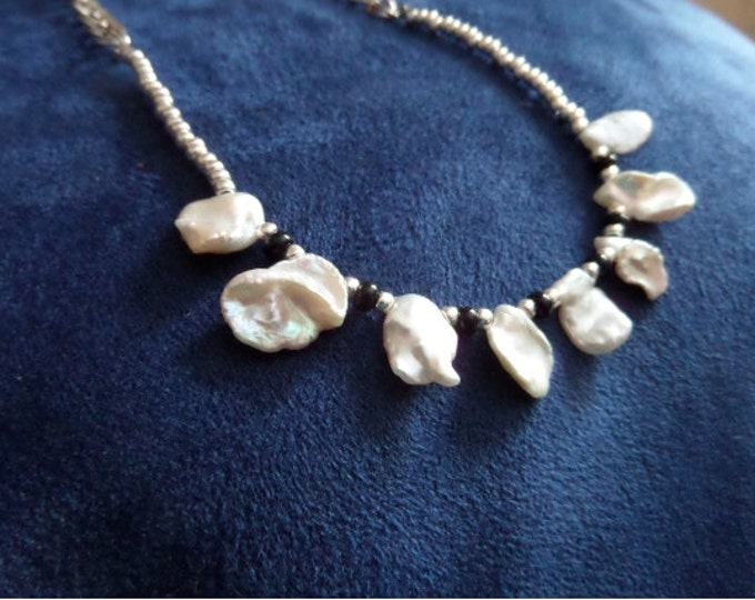 Keisha Pearls with Double Sterling Silver Link Chains