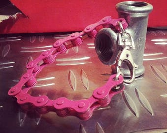 Pink bicycle chain bracelet and other colors