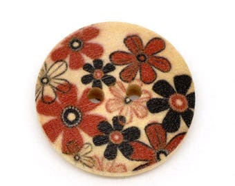Lot 5 buttons wood Floral Theme (1) - 23 mm - 2 holes