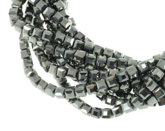 """6mm Opaque Silver Crystal Cubes - Full 16"""" Strand - About 61 Beads"""