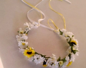 Sunflower Daisy flower crown yellow hair wreath Wedding Bridal party Accessories floral halo garland spring Bride EDC music festival fashion