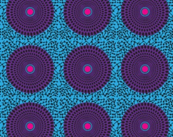 4 Way Stretch Purple and Turquoise Record, Circle, Round Print, African Print, Ankara Fabric BTY