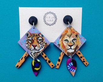 Hand painted lion jaguar earrings, polymer clay earrings, predator prey earrings, unique earrings, reversible earrings, animal earrings