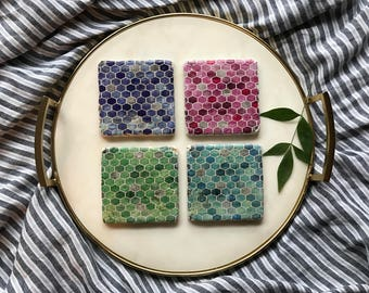 Hexagon Coasters/Multi Colored/Shapes/Pattern