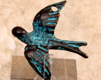 Dove Pendant, Bird Pendant, Greek Casting, Green Patina, M260