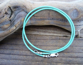 """2mm Genuine Leather Cord Necklace - Turquise Blue - Pure Sterling Silver Clasp/Catch - 16""""/18""""/20""""/22""""/24""""/28"""" inch"""
