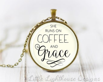 Large She Runs On Coffee And Grace Necklace, Christian Pendant Necklace Scripture Christian Necklace Inspirational Gift Mothers Day