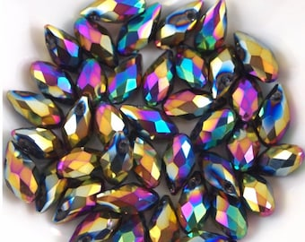 Chinese Crystal Briolette 6X12mm-10 pieces-Metallic Rainbow (MWBRMR)