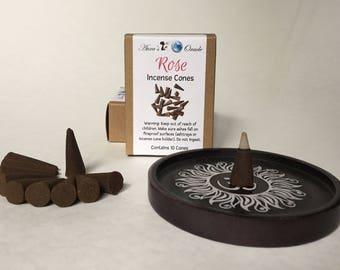 Rose Incense Cones, Box of 10