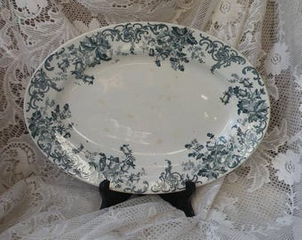 French vintage antique oval ironstone serving plate platter with floral transferware pattern, shabby chic, nordic, French country home