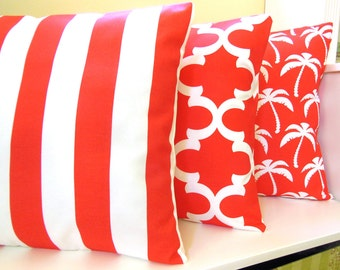 OUTDOOR Red Beach Pillow COVERS Three Red White Nautical Pillows Coastal Stripe Cushion Covers Pillow for Patio Couch Sofa Moroccan Pillow