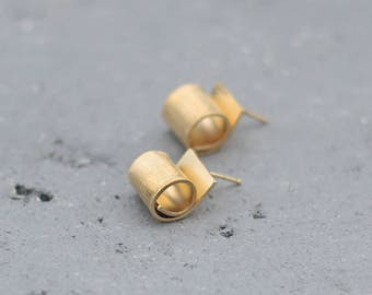 Gold Fold Earrings, Fold Form Studs, Folded Earrings, Gift for Women, Birthday Gift for Her, Gold Round Earrings, Christmas Gift for Her