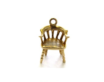 Vintage 14k Yellow Gold Retro 1970's Spindle Captain's Chair Charm