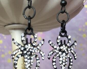 Black spider earrings with rhinestones