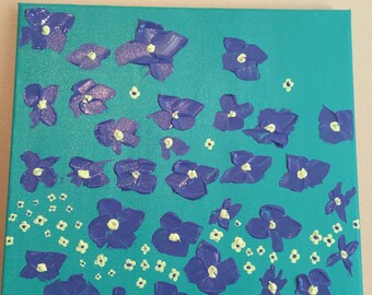 Original Abstract Acrylic Painting Whimsy Flowers