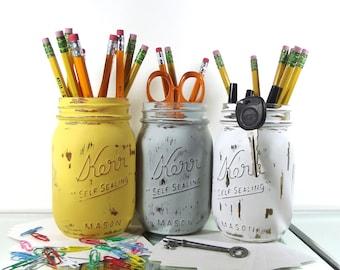 Gentil Pen Cup, Rustic Office Decor, Dorm Decor, Cute Office Decor, Pencil Holder,  Mason Jar Decor, Distressed Decor, Back To School