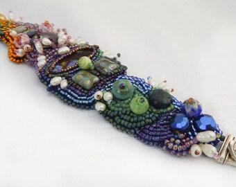Bead Embroidery Statement Bracelet Summer Garden