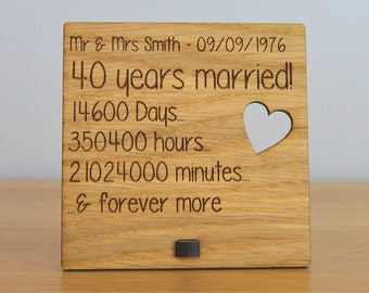 Wooden Wedding Anniversary Plaque Sign Days Hours Minutes And Forever More