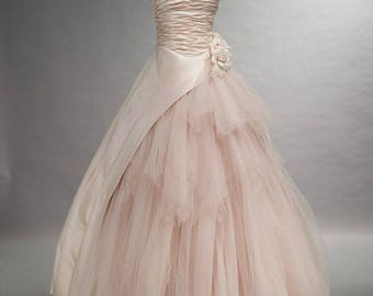 Romantic Blush Pink Wedding Dress Bridal Gown with Tulle available in every color Custom Made to your Measurements