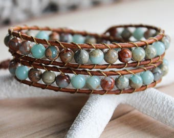 Gemstone Wrap Bracelet, Jasper Gemstones, Wrap Bracelet, Beaded Wrap Bracelet, Double Wrap, Leather Wrap Bracelet, Beaded Leather Wrap