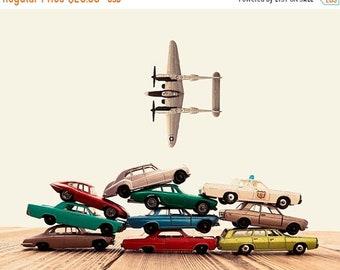 FLASH SALE til MIDNIGHT Vintage Matchbox Cars Stacked Airplane Fly By, Photo Print, Boys Room decor, Boys Nursery Prints