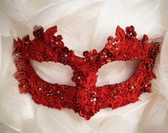 Sequined Red Masquerade Mask With Rhinestones And Embroidery - Embellished Venetian Style Red Masquerade Ball Mask
