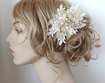 Ivory & Gold Bridal Comb- Bridal Hair Comb- Bridal Hair Accessories-Ivory Wedding Hair Accessories-Bridal Hairpiece-Gold Hair Comb-Hairpiece