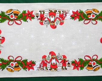Vintage Christmas cotton table runner  Printed Xmas Pattern with dwarfs, bells, Poinsettia