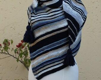 Triangle shawl , Shawl , Wrap, Warm winter wrap , Stole , Sharlie , Triangle wrap , Hand knitted shawl ,