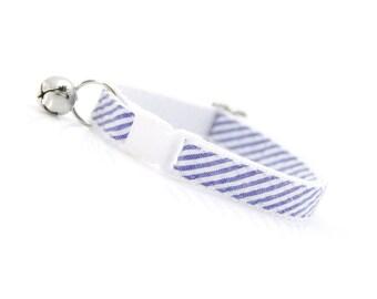 "Preppy Cat Collar - ""Newport"" - Seersucker w/ Indigo Blue Stripes - Breakaway Buckle or Non-Breakaway - Sizes for Cat, Kitten, Small Dog"