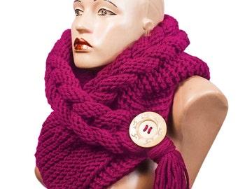 Hooded Scarf, Scarf, Hood, scarf hooded, Chunky scarf, Wool cowl | 8041