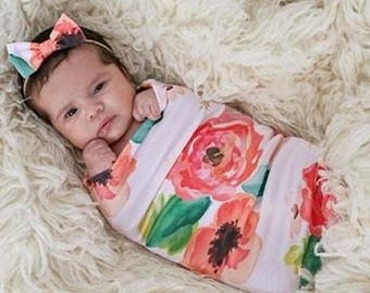 Baby Girl Peach Large Watercolor Floral Swaddle Sack Set with Bow, Swaddle Cocoon, Sleep Sack, Swaddle, Newborn, Blanket, Headband, Top Knot