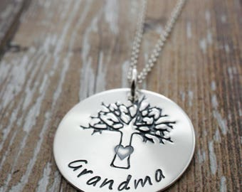 Gift for Grandma - Family Tree Necklace - Sterling Silver Jewelry with Swarovski Birthstone Crystals - Jewelry Gifts for Her