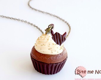 SCENTED Mini Food Chocolate and Champagne Cream Cupcake Necklace, Polymer clay Jewelry, Miniature Food Jewelry, Mini Sweets, Food Jewelry