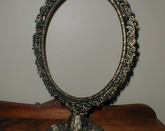 Oval Brass Footed Swivel Frame *Pretty Floral Border* Cottage Chic Decor!