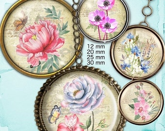 80% Off Spring Sale Botanical Flowers Digital Collage Sheet 12mm, 20 mm, 25 mm, 1 inch, 30 mm Round Circle Images for Jewelry Making, Cardma