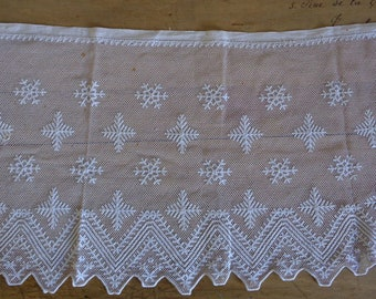 Lace edging trim for priest surplice alb, 3 yards of French religious antique embroidered net border, 15.5 inches deep