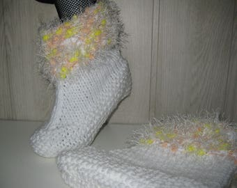 slippers in white wool and poilee